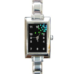 Green Black Widescreen Rectangle Italian Charm Watch by Mariart