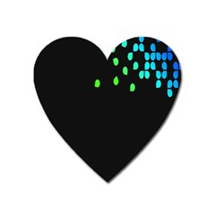 Green Black Widescreen Heart Magnet by Mariart