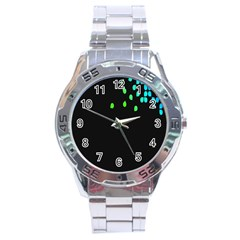 Green Black Widescreen Stainless Steel Analogue Watch by Mariart