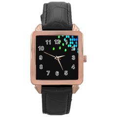 Green Black Widescreen Rose Gold Leather Watch  by Mariart