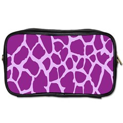 Giraffe Skin Purple Polka Toiletries Bags 2 Side by Mariart