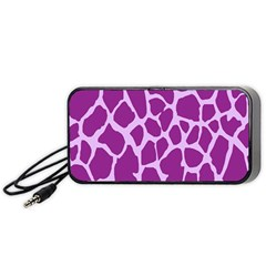 Giraffe Skin Purple Polka Portable Speaker (black) by Mariart