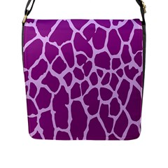 Giraffe Skin Purple Polka Flap Messenger Bag (l)  by Mariart
