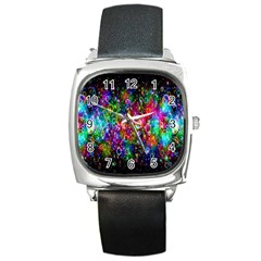 Colorful Bubble Shining Soap Rainbow Square Metal Watch by Mariart