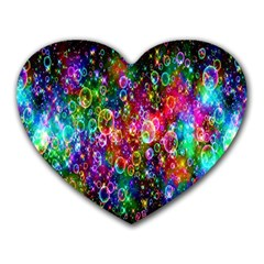 Colorful Bubble Shining Soap Rainbow Heart Mousepads by Mariart