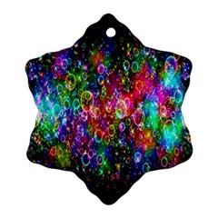 Colorful Bubble Shining Soap Rainbow Snowflake Ornament (two Sides) by Mariart