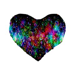 Colorful Bubble Shining Soap Rainbow Standard 16  Premium Heart Shape Cushions by Mariart