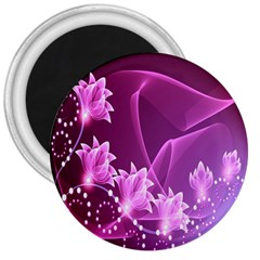 Lotus Sunflower Sakura Flower Floral Pink Purple Polka Leaf Polkadot Waves Wave Chevron 3  Magnets by Mariart