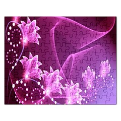Lotus Sunflower Sakura Flower Floral Pink Purple Polka Leaf Polkadot Waves Wave Chevron Rectangular Jigsaw Puzzl by Mariart