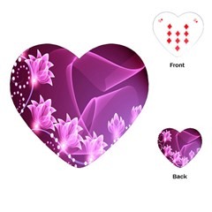 Lotus Sunflower Sakura Flower Floral Pink Purple Polka Leaf Polkadot Waves Wave Chevron Playing Cards (heart)  by Mariart