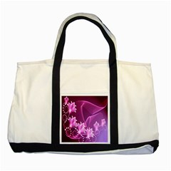 Lotus Sunflower Sakura Flower Floral Pink Purple Polka Leaf Polkadot Waves Wave Chevron Two Tone Tote Bag