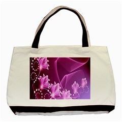 Lotus Sunflower Sakura Flower Floral Pink Purple Polka Leaf Polkadot Waves Wave Chevron Basic Tote Bag (two Sides) by Mariart
