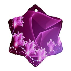 Lotus Sunflower Sakura Flower Floral Pink Purple Polka Leaf Polkadot Waves Wave Chevron Ornament (snowflake)