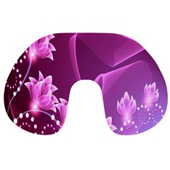 Lotus Sunflower Sakura Flower Floral Pink Purple Polka Leaf Polkadot Waves Wave Chevron Travel Neck Pillows by Mariart