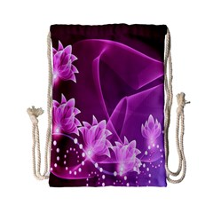 Lotus Sunflower Sakura Flower Floral Pink Purple Polka Leaf Polkadot Waves Wave Chevron Drawstring Bag (small) by Mariart
