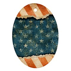Grunge Ripped Paper Usa Flag Ornament (oval) by Mariart