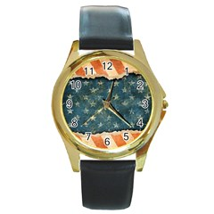 Grunge Ripped Paper Usa Flag Round Gold Metal Watch by Mariart