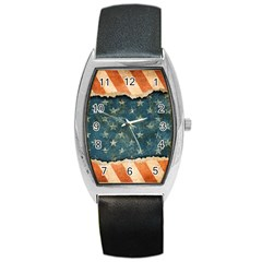 Grunge Ripped Paper Usa Flag Barrel Style Metal Watch by Mariart