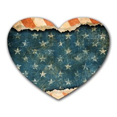 Grunge Ripped Paper Usa Flag Heart Mousepads by Mariart
