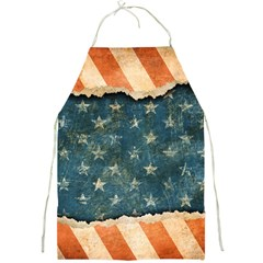 Grunge Ripped Paper Usa Flag Full Print Aprons by Mariart
