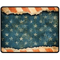 Grunge Ripped Paper Usa Flag Fleece Blanket (medium)  by Mariart