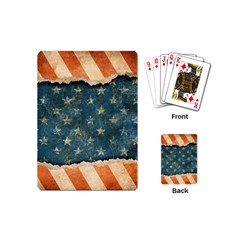 Grunge Ripped Paper Usa Flag Playing Cards (mini)  by Mariart