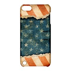 Grunge Ripped Paper Usa Flag Apple Ipod Touch 5 Hardshell Case With Stand by Mariart