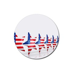 Multiple Us Flag Stars Line Slide Rubber Coaster (round)  by Mariart