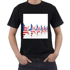 Multiple Us Flag Stars Line Slide Men s T-shirt (black) (two Sided) by Mariart