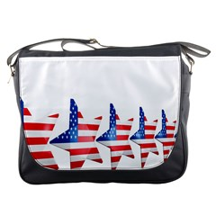 Multiple Us Flag Stars Line Slide Messenger Bags