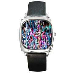 Fireworks Rainbow Square Metal Watch by Mariart