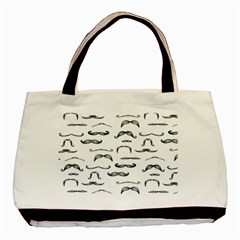 Mustache Man Black Hair Basic Tote Bag by Mariart