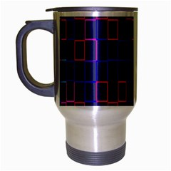 Grid Lines Square Pink Cyan Purple Blue Squares Lines Plaid Travel Mug (silver Gray) by Mariart