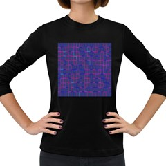 Grid Lines Square Pink Cyan Purple Blue Squares Lines Plaid Women s Long Sleeve Dark T-shirts