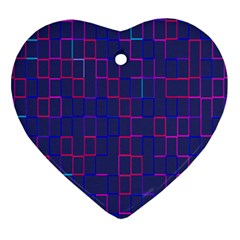 Grid Lines Square Pink Cyan Purple Blue Squares Lines Plaid Heart Ornament (two Sides) by Mariart