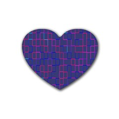 Grid Lines Square Pink Cyan Purple Blue Squares Lines Plaid Heart Coaster (4 Pack)  by Mariart