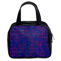 Grid Lines Square Pink Cyan Purple Blue Squares Lines Plaid Classic Handbags (2 Sides) by Mariart