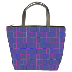 Grid Lines Square Pink Cyan Purple Blue Squares Lines Plaid Bucket Bags by Mariart