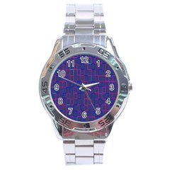 Grid Lines Square Pink Cyan Purple Blue Squares Lines Plaid Stainless Steel Analogue Watch by Mariart