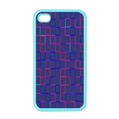 Grid Lines Square Pink Cyan Purple Blue Squares Lines Plaid Apple Iphone 4 Case (color) by Mariart
