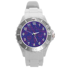Grid Lines Square Pink Cyan Purple Blue Squares Lines Plaid Round Plastic Sport Watch (l) by Mariart
