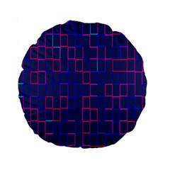 Grid Lines Square Pink Cyan Purple Blue Squares Lines Plaid Standard 15  Premium Round Cushions by Mariart