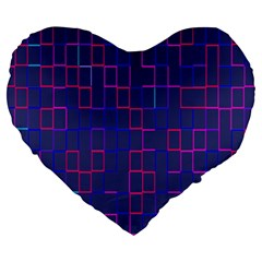 Grid Lines Square Pink Cyan Purple Blue Squares Lines Plaid Large 19  Premium Heart Shape Cushions by Mariart