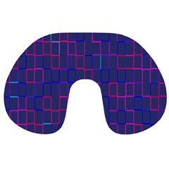 Grid Lines Square Pink Cyan Purple Blue Squares Lines Plaid Travel Neck Pillows by Mariart