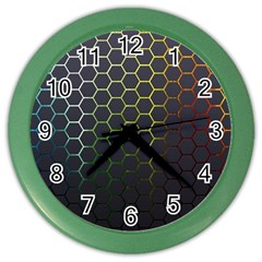 Hexagons Honeycomb Color Wall Clocks by Mariart