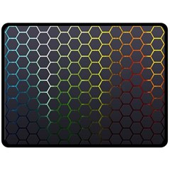 Hexagons Honeycomb Fleece Blanket (large)  by Mariart
