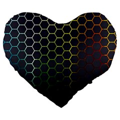 Hexagons Honeycomb Large 19  Premium Heart Shape Cushions by Mariart
