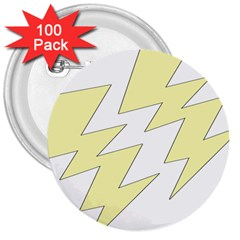 Lightning Yellow 3  Buttons (100 Pack)  by Mariart