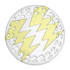 Lightning Yellow Ornament (round Filigree) by Mariart