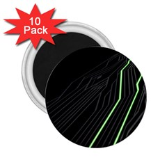 Green Lines Black Anime Arrival Night Light 2 25  Magnets (10 Pack)  by Mariart